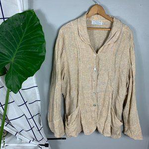 Willow Linen Cardigan Long Sleeves Tan Size XL